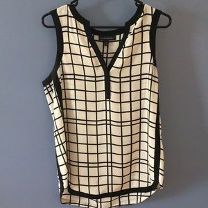 Banana Republic Window Pane Sleeveless Blouse